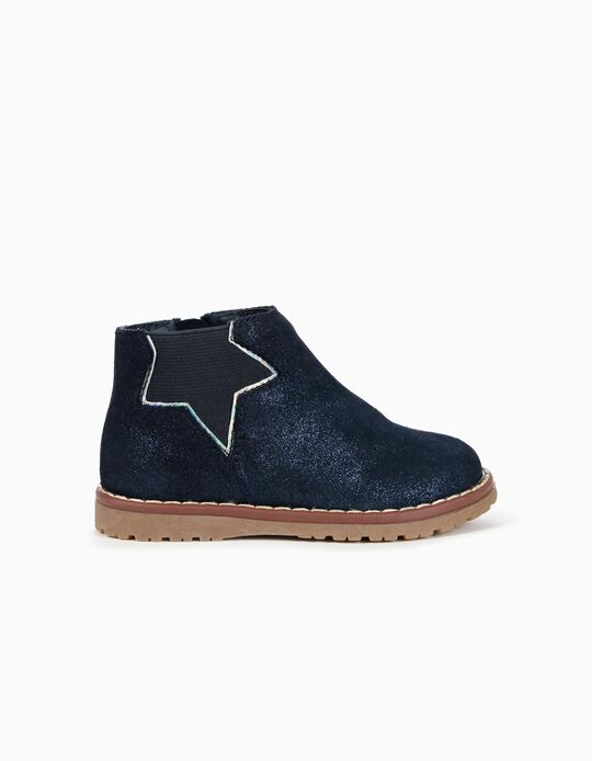 Glitter Suede Boots for Baby Girls, Dark Blue