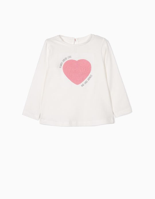 T-shirt Manga Comprida para Bebé Menina 'Spread Love', Branco