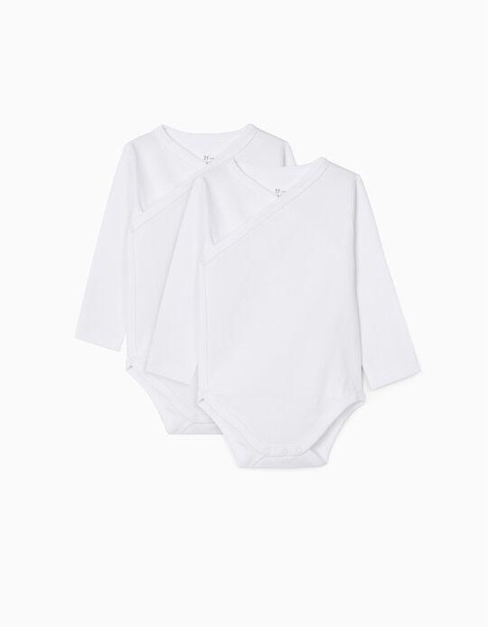 2-Pack Long-Sleeved Bodysuits, White