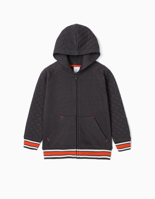Hooded Jacket for Boys, Dark Grey