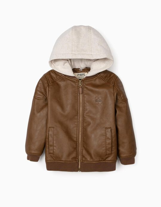 Hooded Jacket for Boys, Brown