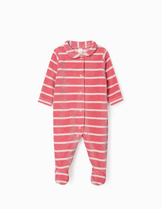 Velour Sleepsuit for Newborn Baby Girls, 'WH', Pink/White