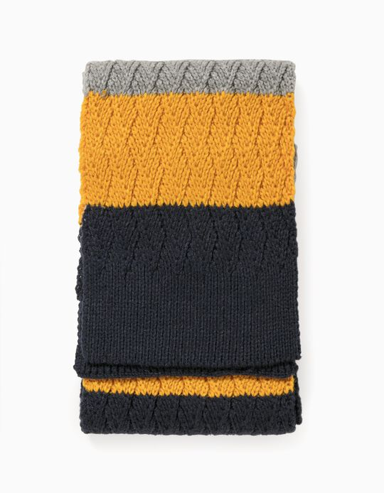 Knit Scarf for Boys, Blue/Yellow/Grey