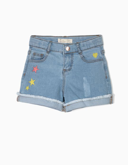 Denim Jeans with Embroideries for Girls, Light Blue