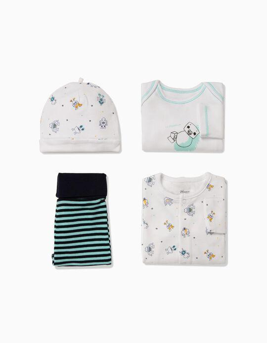 Conjunto 4 Prendas para Recién Nacido 'Robots', Blanco y Azul