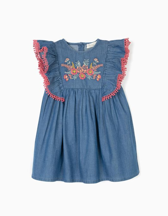 Vestido Denim para Bebé Niña con Bordados, Azul