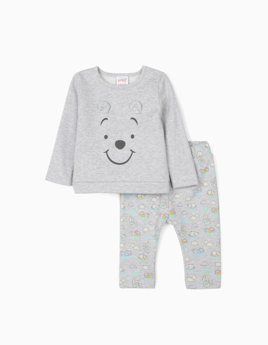 Tracksuit for Newborn Baby Boys, 'Winnie the Pooh', Grey