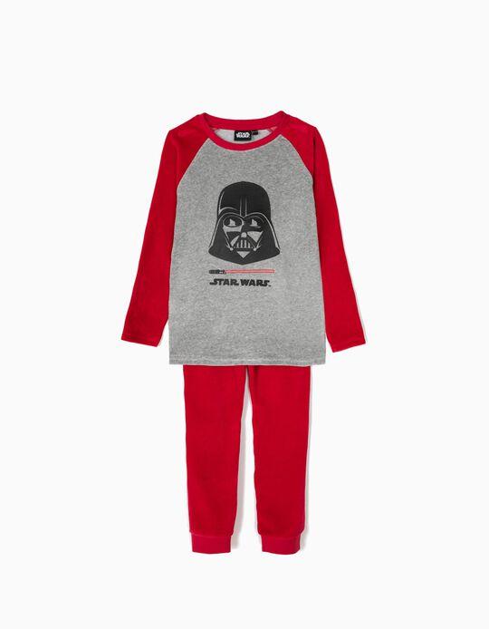 Pijama Manga Comprida e Calças Star Wars Vermelho e Cinza