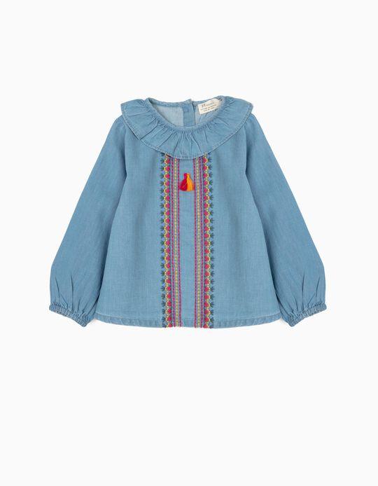 Blusa de Ganga para Bebé Menina com Bordados e Borlas, Azul