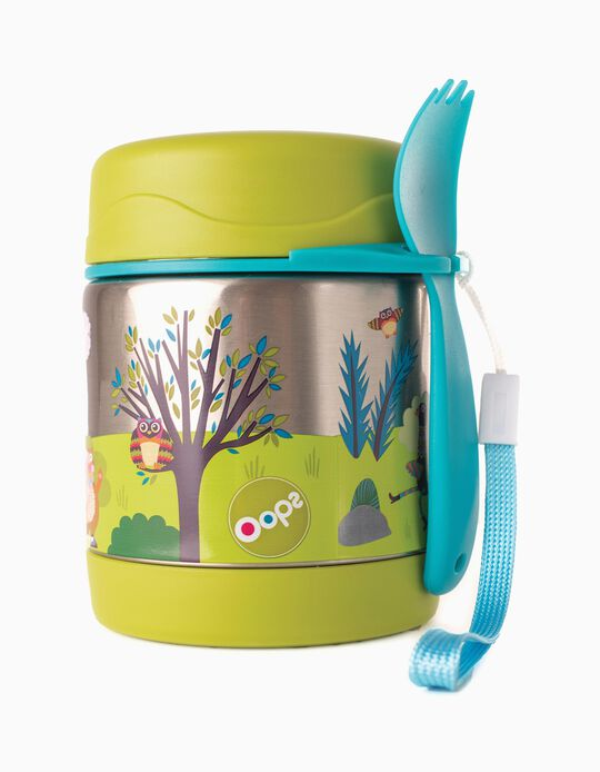 Thermal Food Jar + Spoon&Fork Set Oops Forest 30cm