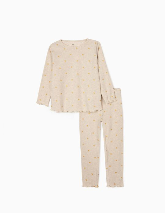 Pijama de Canalé para Niña 'Hearts', Beige Jaspeado