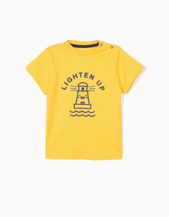 T-shirt para Bebé Menino 'Lighten Up', Amarelo