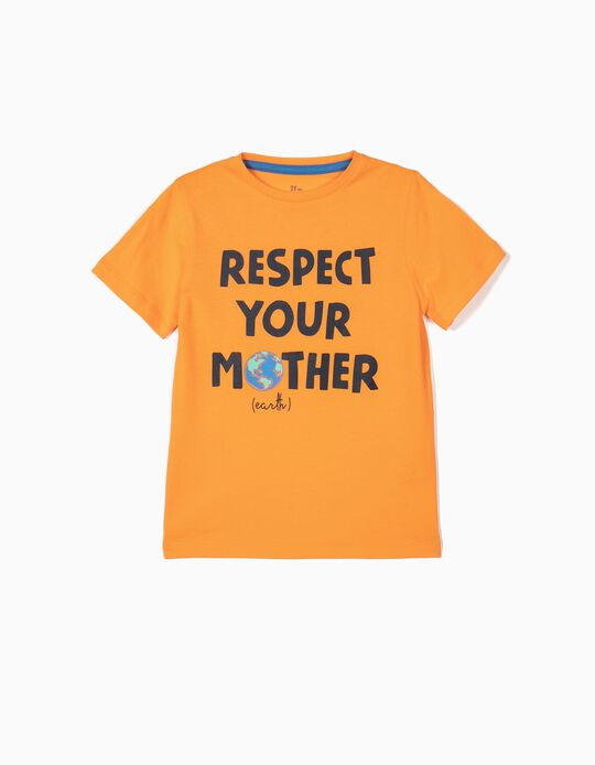 T-shirt para Menino 'Mother Earth', Laranja