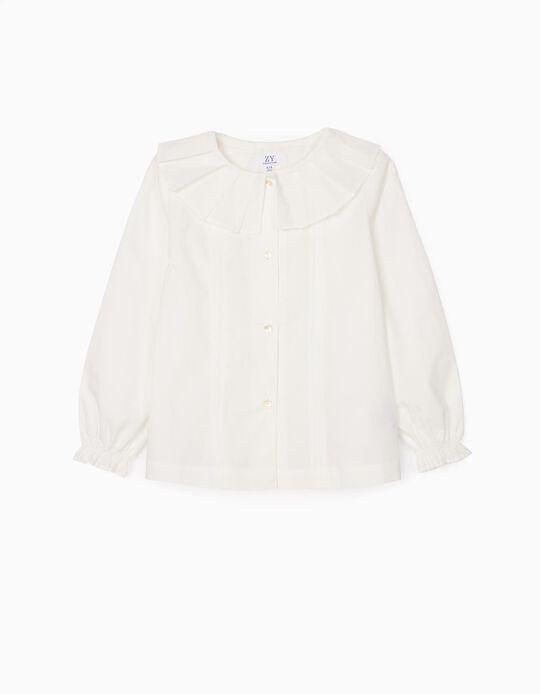 Camisa con Pliegues para Niña, Blanco
