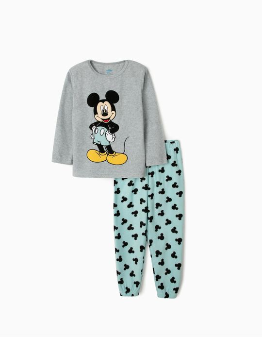 Polar Fleece Pyjamas for Boys 'Mickey Mouse', Grey/Blue