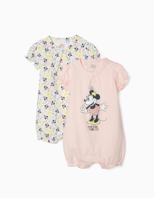 2 Babygrows para Bebé Menina 'Minnie Mouse', Rosa/Branco