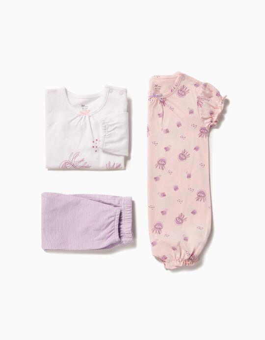 Pijama y Pelele para Bebé Niña 'Jellyfish', Rosa y Blanco