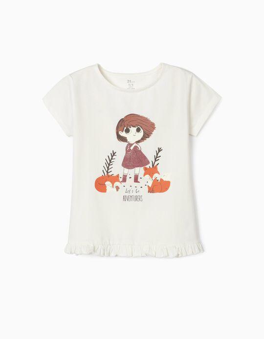 T-Shirt em Algodão Orgânico para Menina, 'Adventurers', Branco
