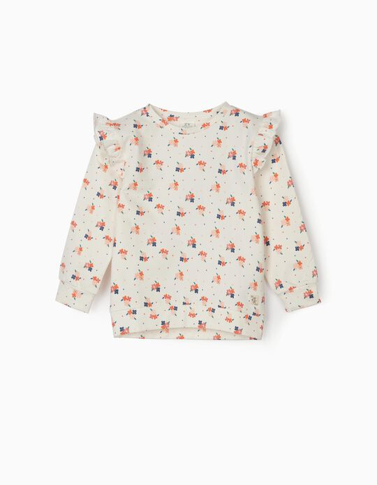Floral Sweatshirt for Girls, White