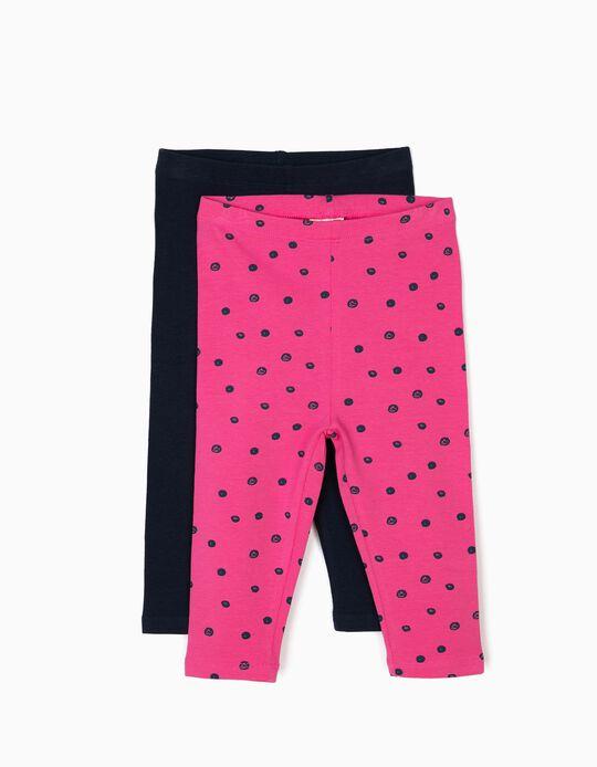 2 Leggings para Bebé Menina 'Dots', Azul e Rosa