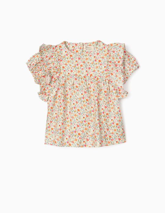 Floral Blouse for Baby Girls, Multicoloured