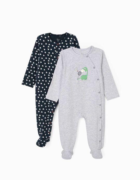 2 Peleles para Bebé Niño 'Dino Badmington', Gris/Azul