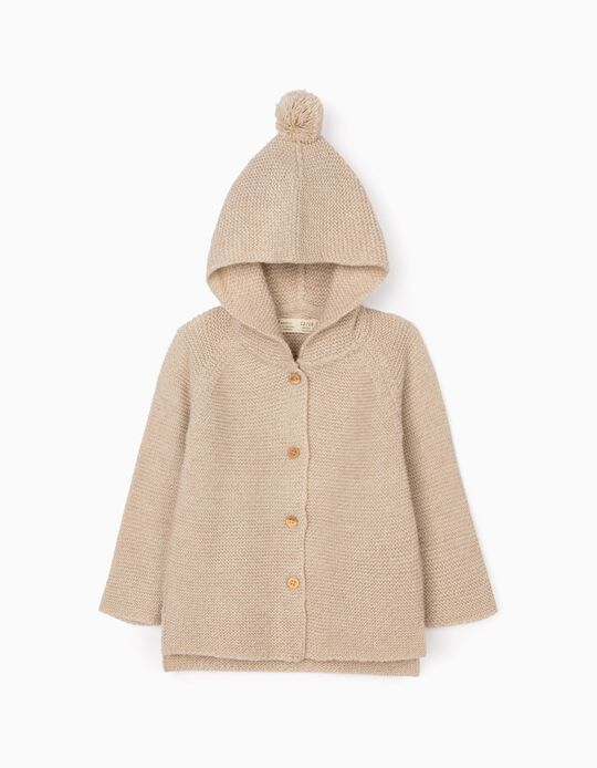 Hooded Cardigan for Baby Girls, Beige
