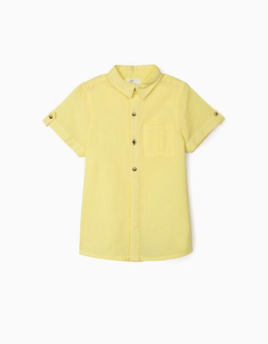 Chemise manches courtes garçon, jaune