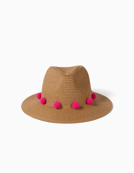 Straw Hat with Pompoms for Girls, Brown