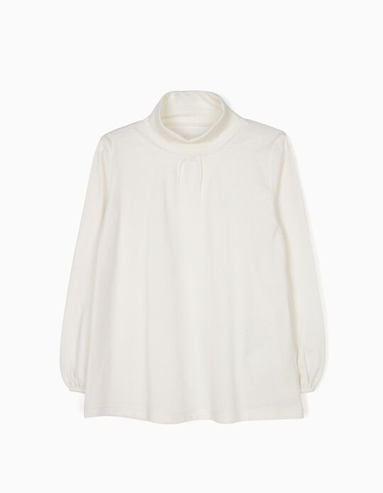 T-shirt Manga Comprida de Gola Alta Branca