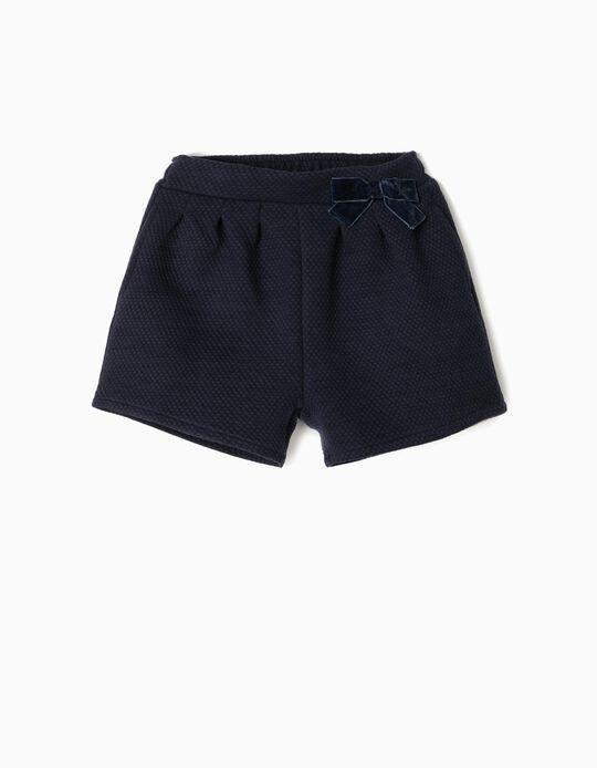 Short con Relieve para Niña, Azul Oscuro