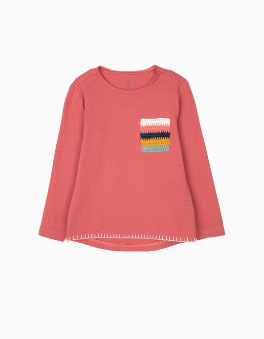 T-shirt de Manga Comprida para Menina com Bolso em Croché, Rosa