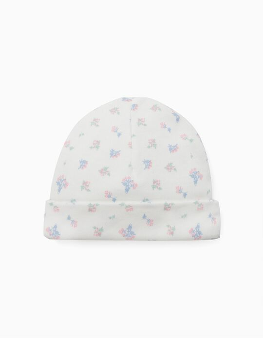 Floral Beanie for Newborn Baby Girls, 'WH', White
