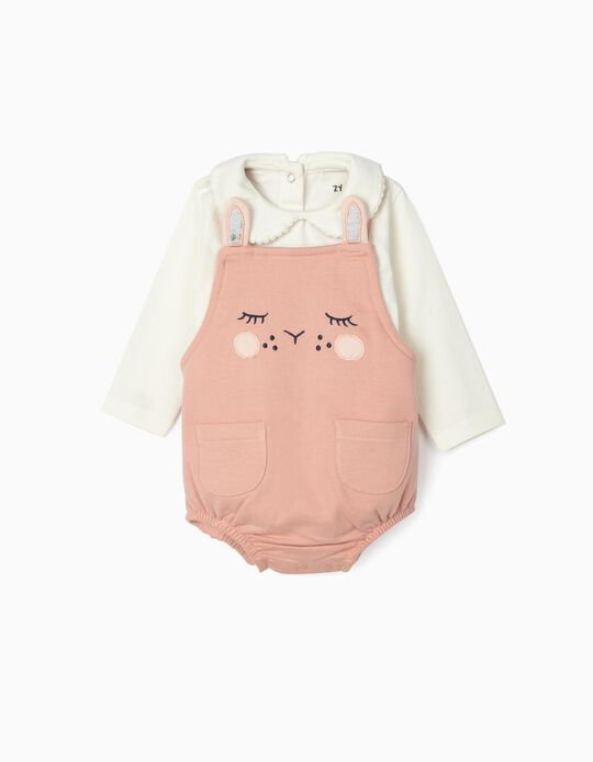Outfit for Newborn Baby Girls, 'Cute Bunny', Pink/White
