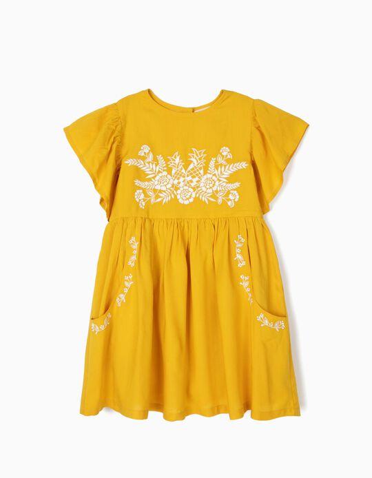 Vestido para Niña con Bordados, Amarillo