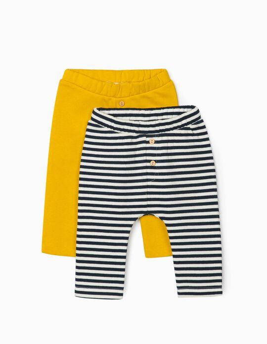 2 Pantalones para Recién Nacido, Rayas/Amarillo