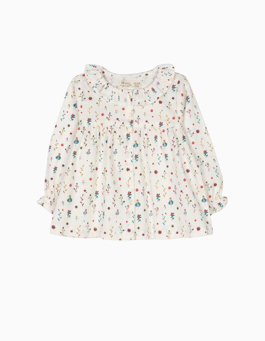 Blusa de Sarja Flores Branca