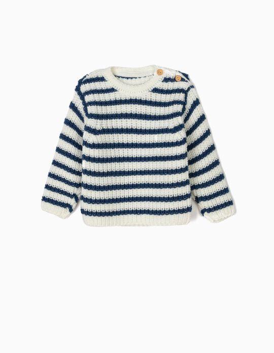 Camisola de Malha para Recém-Nascido Riscas, Branco e Azul