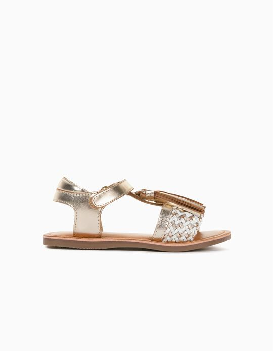 Leather Sandals with Tassels, for Girls, Gold/White