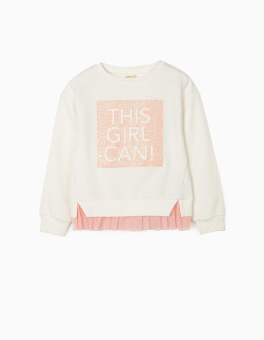 Sweatshirt with Tulle for Girls, 'This Girl Can!', White