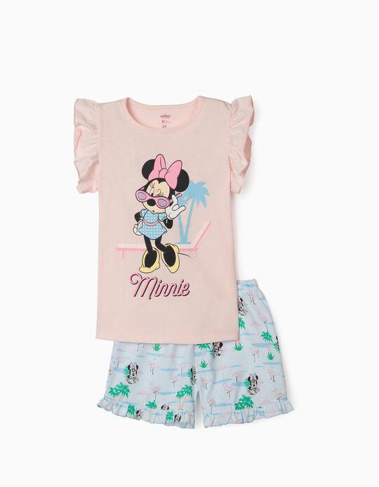 Pijama Manga Corta para Niña 'Minnie', Rosa/Azul