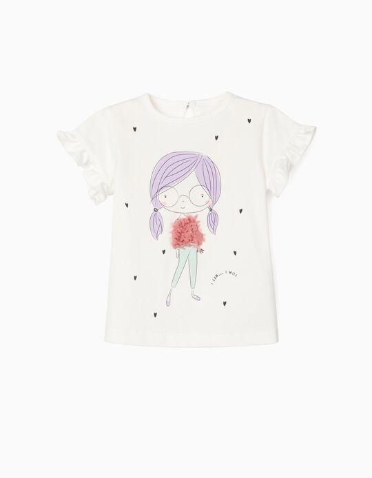 T-shirt para Bebé Menina 'I Can', Branco