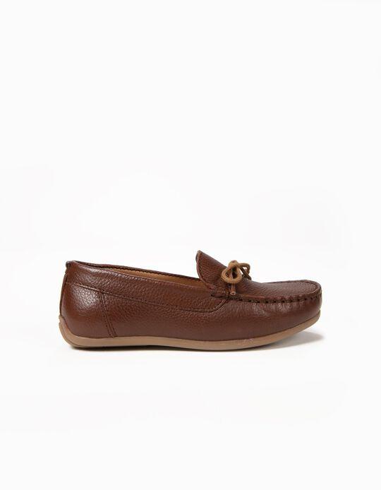 Sapatos de Pele para Menino 'Loafers', Castanho