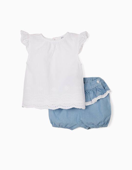 Blusa Bordado Inglês e Calções Denim para Bebé Menina, Branco/Azul