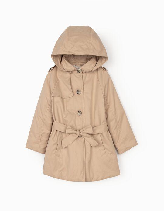 Hooded Parka for Girls, Beige