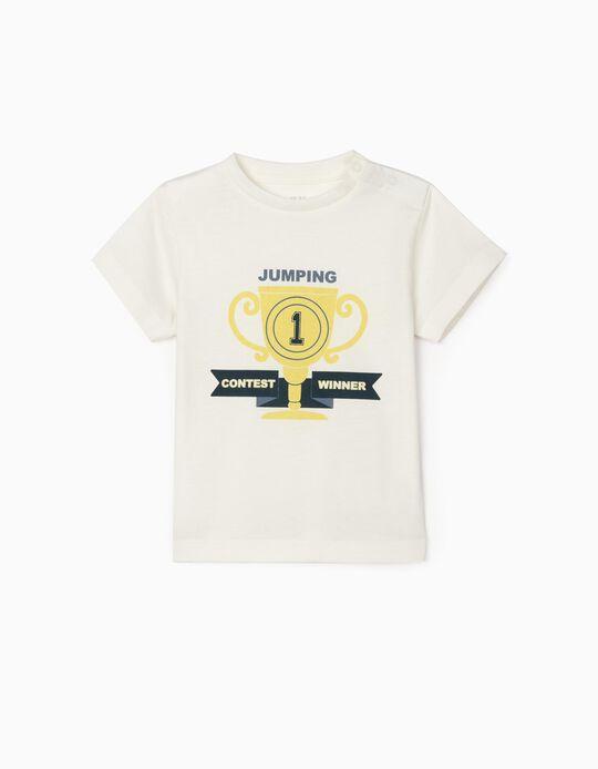 T-Shirt para Bebé Menino 'Jumping', Branco