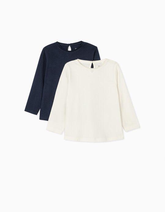 2 Long Sleeve T-Shirts for Baby Girls, White/Dark Blue