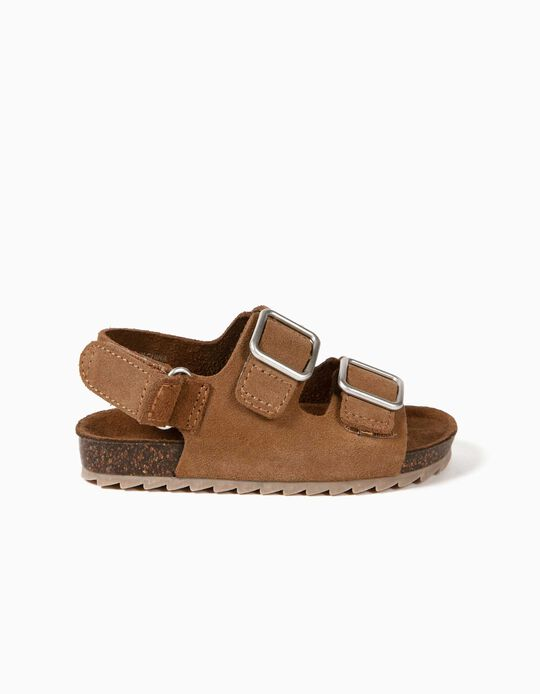 Leather Sandals for Baby Boys, Camel