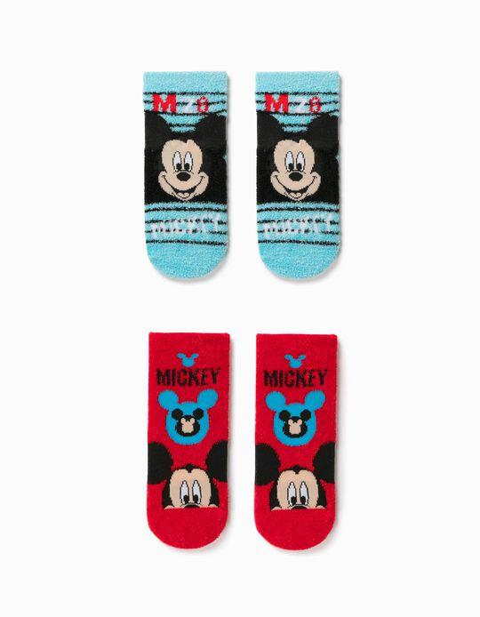 2 Pares Meias Antiderrapantes para Menino 'Mickey', Azul/Vermelho