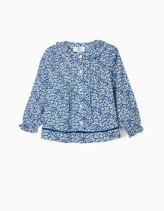 Blusa para Bebé Niña 'Flores', Azul